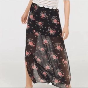 NWT pink Floral maxi skirt with side slits H&M